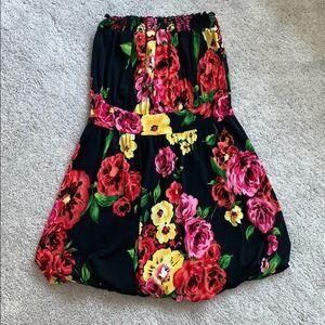 Floral Sleeveless Bubble Mini Dress L